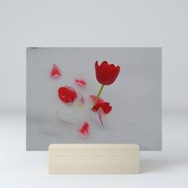 Vibrant Red Tulips In White Snow Mini Art Print