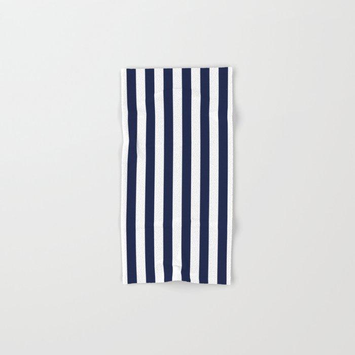 Maritime pattern- darkblue stripes on clear white- vertical Hand & Bath Towel