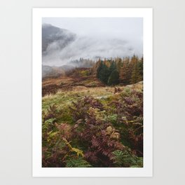 Rain clouds sweeping through the mountains near Blea Tarn. Cumbria, UK. Art Print