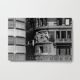 Close-up view of historical apartment building with clock in Financial District Lower Manhattan New Metal Print