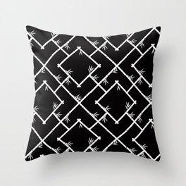 Bamboo Chinoiserie Lattice in Black + White Throw Pillow