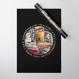 Times Square New York City (badge emblem on black) Wrapping Paper