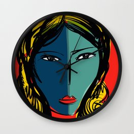Portrait of a girl in red Wall Clock