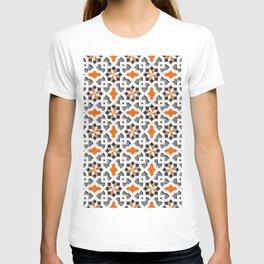 black, white, grey, orange -  Oriental design - orient  pattern - arabic style geometric mosaic T-shirt
