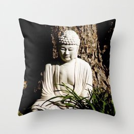 Buddha Zen Meditative Earthy White Brown and Green Art Print Throw Pillow