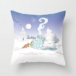 Winter Time Fox Throw Pillow