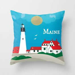 Maine - Skyline Illustration by Loose Petals Throw Pillow