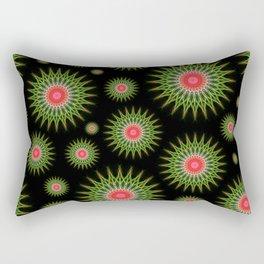 Mandalas pattern in red and green Rectangular Pillow