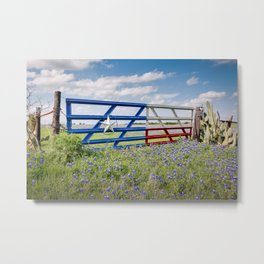 Lone Star Gate With Bluebonnets - Ennis, TX Metal Print