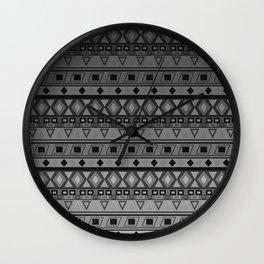 black and white geometric striped pattern Wall Clock