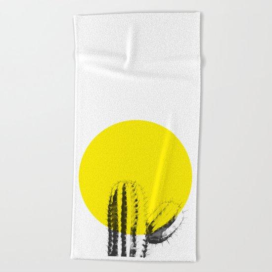 Sunset Minimal Cactus Beach Towel