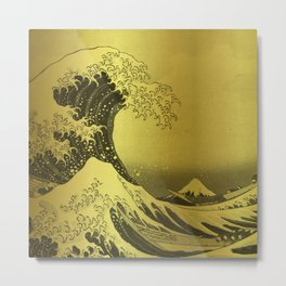 Golden Japanese Great Wave off Kanagawa by Hokusai Metal Print