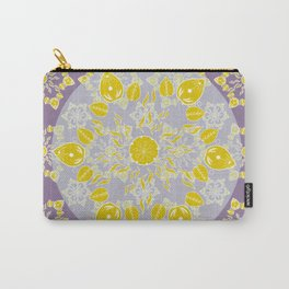 Goldenrod and Mauve Princess Patterned Mandala Textile Carry-All Pouch