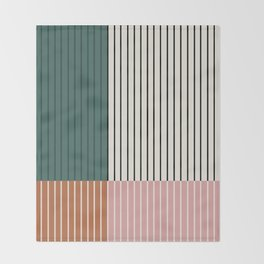 Color Block Line Abstract V Throw Blanket