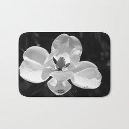 Magnolia In Black And White Bath Mat