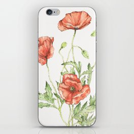 Fragile Beauty - Watercolor Poppies iPhone Skin