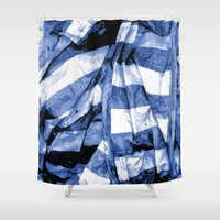 bands Shower Curtains featuring Blue Bands by Motif Mondial