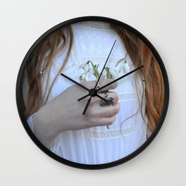 Holding Flowers - Snowdrop Winter Vintage Fashion Style Photograohy Wall Clock