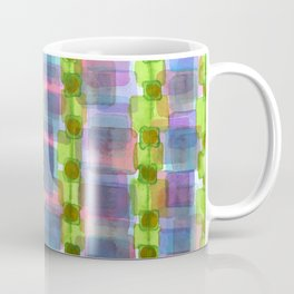 Purple Square Rows with Fluorescent Green Strips Coffee Mug
