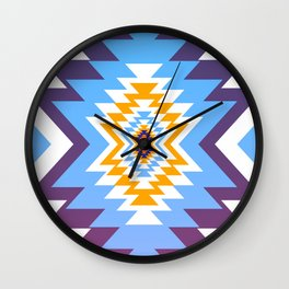 Bright blue native pattern Wall Clock