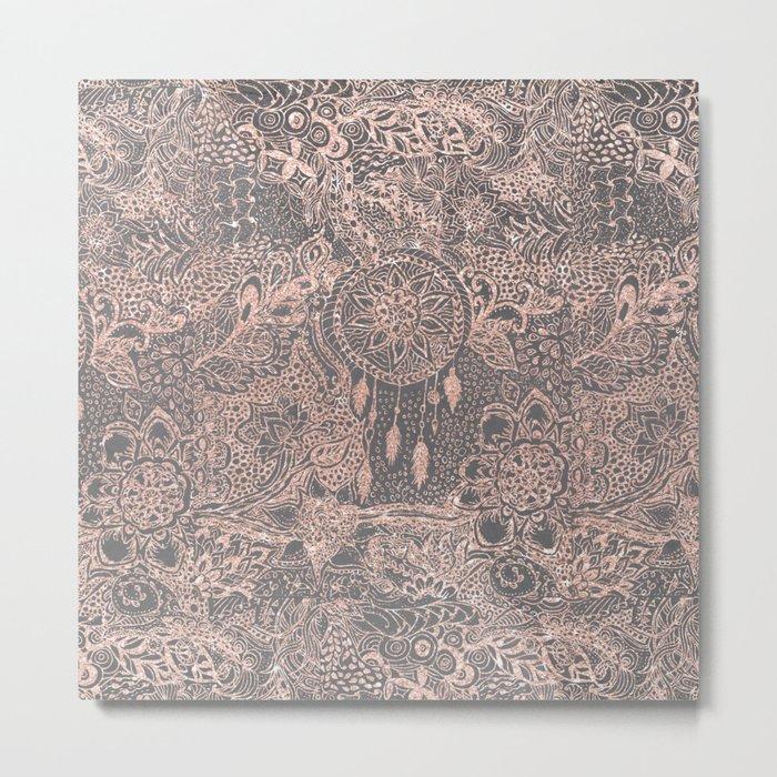 Boho rose gold dreamcatcher floral doodles on grey graphite industrial cement Metal Print