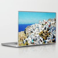 greece Laptop & iPad Skins featuring Santorini, Greece  by Abby Gracey