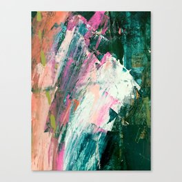 Meditate [2]: a vibrant, colorful abstract piece in bright green, teal, pink, orange, and white Canvas Print