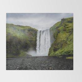 Skogafoss Waterfall Iceland Throw Blanket