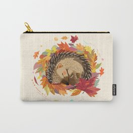 Hedgehog in Autumn Leaves Carry-All Pouch