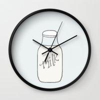 milk Wall Clocks featuring milk. by tiny little plum