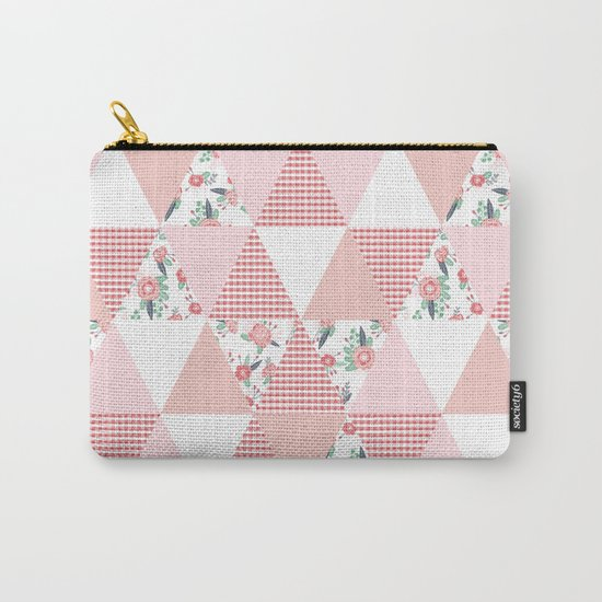 Quilt quilter cheater quilt pattern florals pink and white minimal modern nursery art Carry-All Pouch
