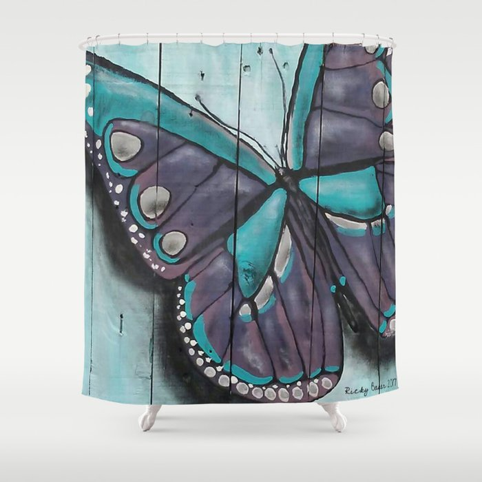 Purple And Blue Butterfly Shower Curtain