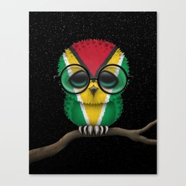 Baby Owl with Glasses and Guyanese Flag Canvas Print