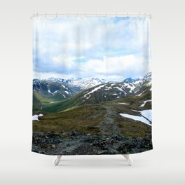 Snow Dusted Peaks Shower Curtain