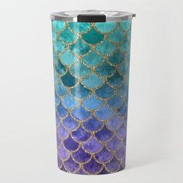 Blue Mermaid Fish Scales Ombre Travel Mug