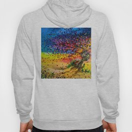 Golden Twisted Tree Expressive Painting by annmariescreations Hoody