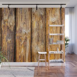 Wooden Log Fence Or Palisade Wall Mural