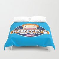 ponyo Duvet Covers featuring Ponyo's Ham Shack by Buby87