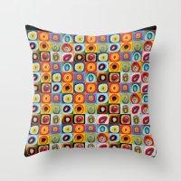 kandinsky Throw Pillows featuring Farbstudie Quardrate by Wassily Kandinsky by designforme