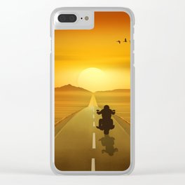 Biker On Route 66 Clear iPhone Case