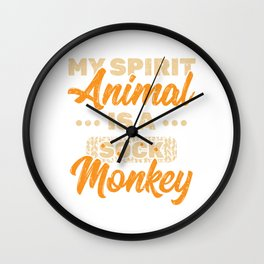 My Spirit Animal Is A Sock Monkey T-shirt Design With Long Tail, Limbs And A Bright Red Lips  Wall Clock