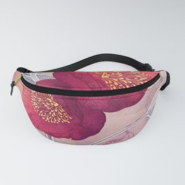 Christmas Roses :: Red Petals, Frosted Leaves Fanny Pack