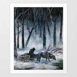 Grim Reaper with Horse in the Woods Art Print