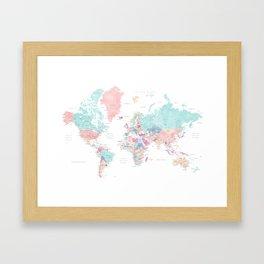 Detailed watercolor world map Carmen Framed Art Print