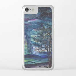 Starry Sky with Aurora Borealis Clear iPhone Case