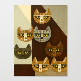 Cat Pattern Japanese, Cat, Cubism, Woodblock Print, Cherry Blossom, Midcentury, Modern Canvas Print