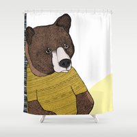 nike Shower Curtains featuring Bear in Nike by Diana Hope