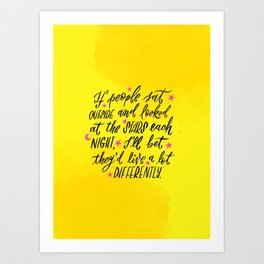 Look at the Stars - Yellow, Pink & Blue Art Print