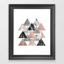 Marble Rose Gold Silver and Floral Geo Triangles Framed Art Print