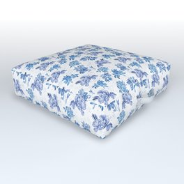 Blue Floral Pattern Outdoor Floor Cushion